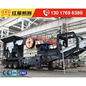 时产150吨石头移动磕石子机_车头牵着上路的碎石机价格